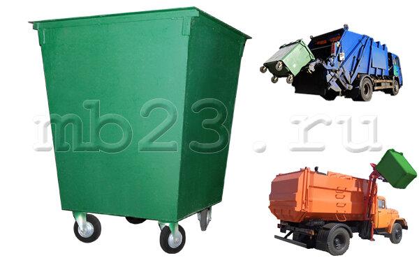 Мусорный контейнер 0,75 м3 металл 1,5 мм на колесах 160