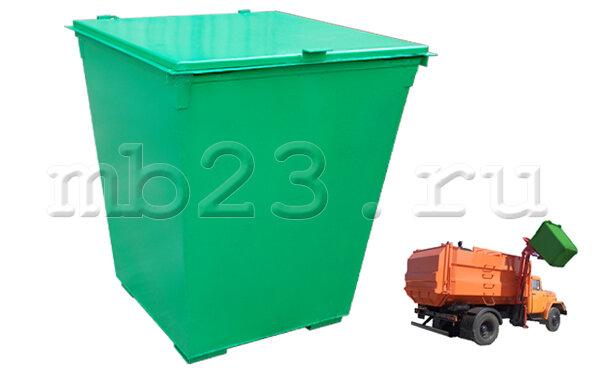 Мусорный контейнер 0,75 м3 металл 2 мм c крышкой